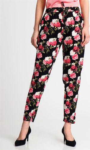 Sublevel Spodnie damskie materiałowe w kwiaty czarne Sublevel XS