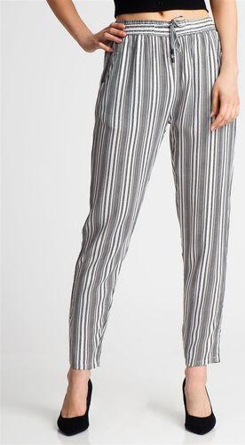 Sublevel Spodnie damskie materiałowe w paski białe Sublevel L