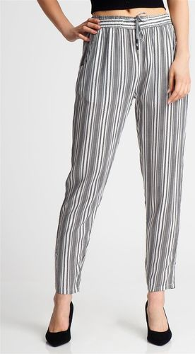 Sublevel Spodnie damskie materiałowe w paski białe Sublevel S