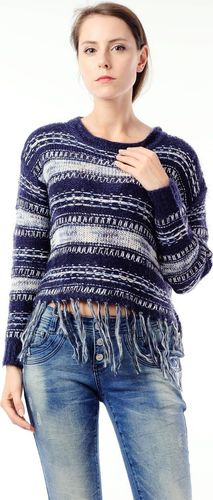 EMOI Sweter z frędzlami damski granatowy  XL