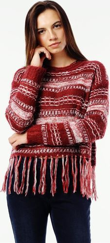 EMOI Sweter z frędzlami damski bordo Emoi by Emonite M