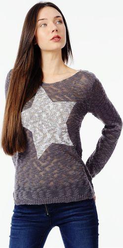 Sublevel Szary ażurowy pulower z gwiazdą Sublevel XL