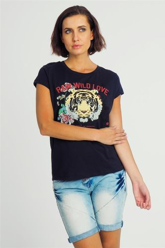 Sublevel Bluzka damska z motywem lwa granatowa Sublevel XS