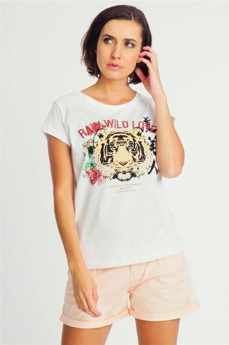 Sublevel Bluzka damska z motywem lwa biała Sublevel S