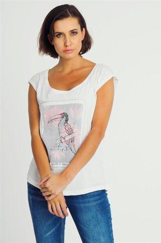 Sublevel Bluzka damska z motywem tukana biała Sublevel XS