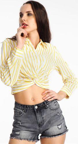 Haily`s Koszula damska krótka w paski biało-żółta Haily's S