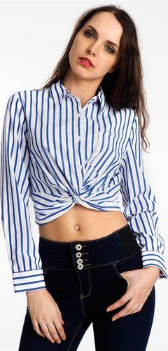 Haily`s Koszula damska krótka w paski biało-niebieska Haily's L