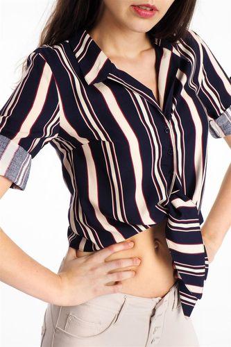 Haily`s Koszula damska krótka w paski wiązana z przodu czarna Haily's L