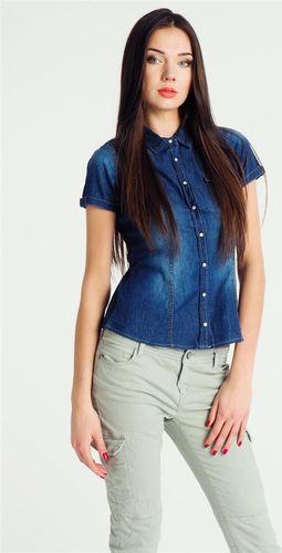 Sublevel Koszula jeansowa z krótkim rękawem ciemnoniebieska damska Sublevel L