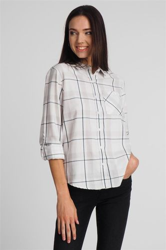 Sublevel Koszula damska w kratę biała Sublevel L