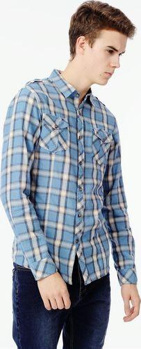 Ebound Niebieska klasyczna koszula męska w kratę L