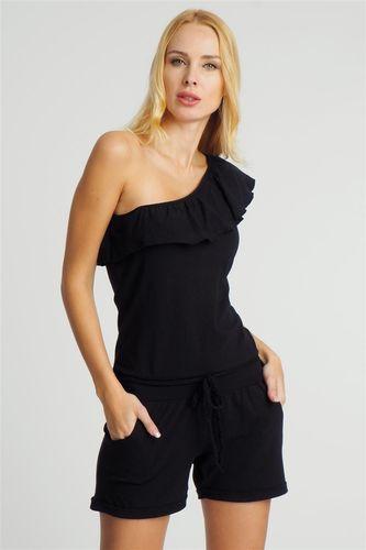 Sublevel Kombinezon damski z falbaną na jedno ramię czarny Sublevel XL