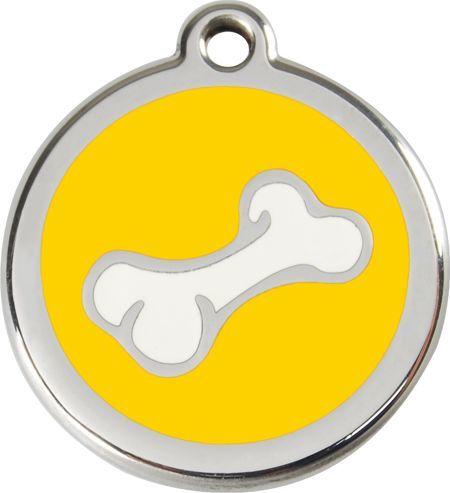 RedDingo Adresówka dla psa duża - okrągła zawieszka KOŚĆ różne kolory - Red Dingo brązowa