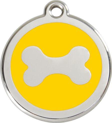 RedDingo Adresówka dla psa duża - okrągła zawieszka KOŚĆ różne kolory - Red Dingo czerwona