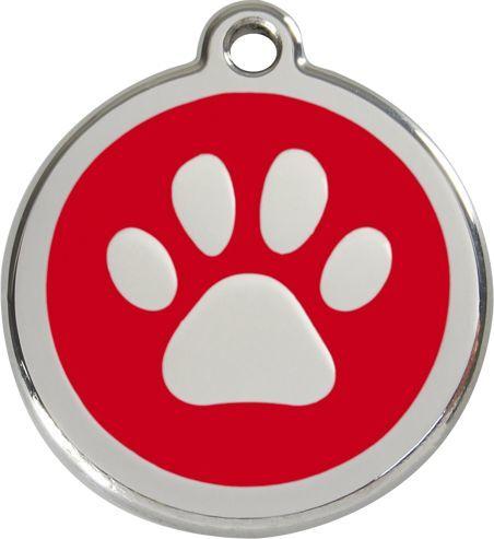 RedDingo Adresówka dla psa duża - okrągła zawieszka ŁAPKA różne kolory- Red Dingo czerwona