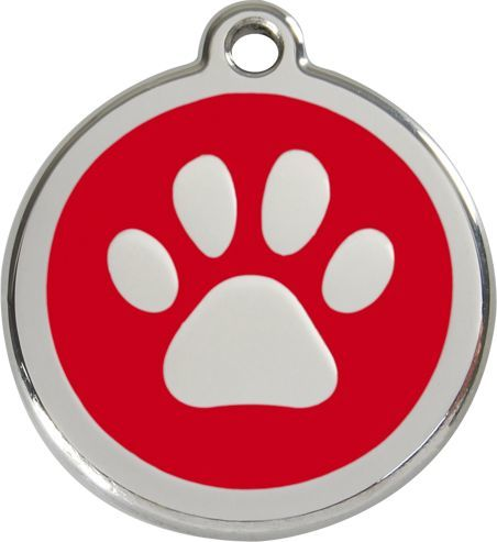 RedDingo Adresówka dla psa duża - okrągła zawieszka ŁAPKA różne kolory- Red Dingo żółta