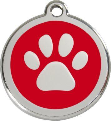 RedDingo Adresówka dla psa średnia - okrągła zawieszka ŁAPKA różne kolory- Red Dingo czerwona