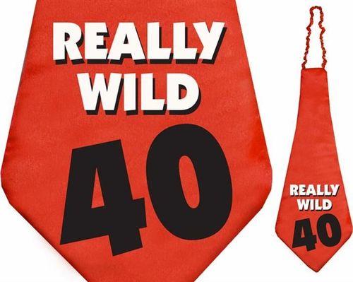 Party Deco Krawat na czterdzieste urodziny, Really Wild 40, czerwony uniwersalny