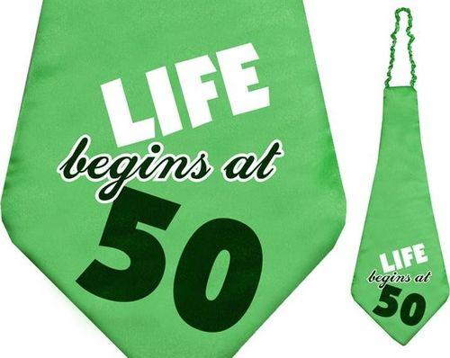 Party Deco Krawat na pięćdziesiąte urodziny, Life Begins at 50, zielony uniwersalny