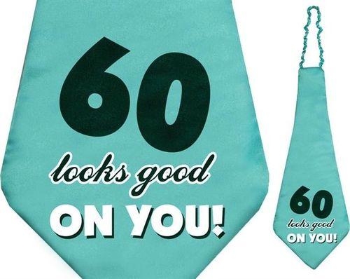 Party Deco Krawat na sześćdziesiąte urodziny, 60 looks good on you!, turkusowy uniwersalny
