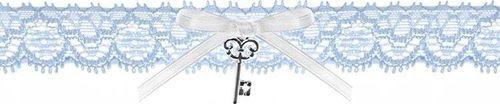 Party Deco Podwiązka ślubna  koronkowa z kokardką i kluczykiem, błękitna uniwersalny