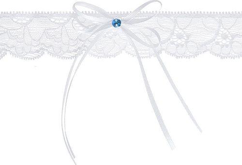 Party Deco Podwiązka ślubna  koronkowa z kokardką, biała uniwersalny