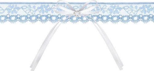 Party Deco Podwiązka ślubna  koronkowa z kokardką, błękitna uniwersalny