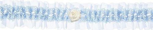 Party Deco Podwiązka ślubna  koronkowa z różyczką, błękita uniwersalny