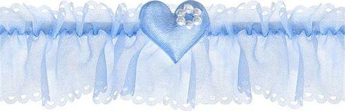 Party Deco Podwiązka ślubna  szyfonowa z serduszkiem, błękitna uniwersalny