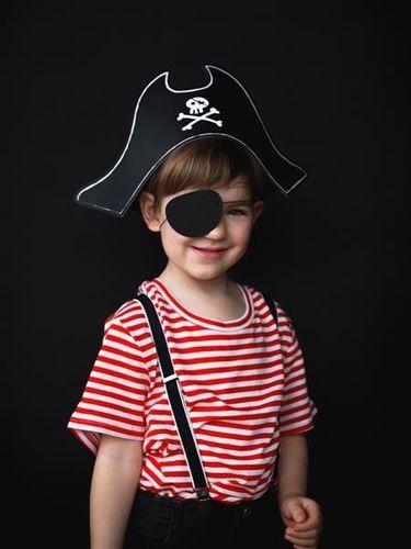 Party Deco Strój pirata, czapka z opaską na oko, czarne uniwersalny