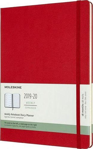 MOLESKINE Kalendarz 2019/20 tygodniowy 18MXL tw. scarlet red