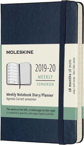 MOLESKINE Kalendarz 2019/20 tyg. 18MP tw. sapphire blue
