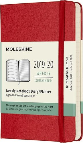 MOLESKINE Kalendarz 2019/20 tygodniowy 18MP tw. scarlet red