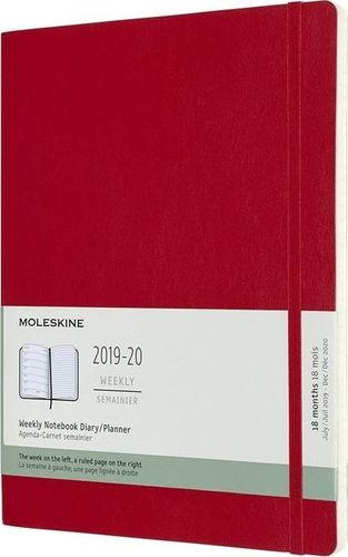 MOLESKINE Kalendarz 2019/20 tygodniowy 18MXL scarlet red