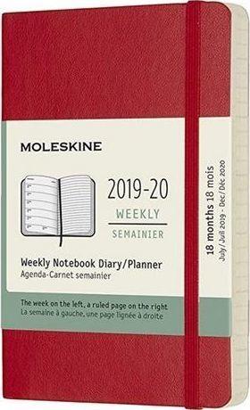 MOLESKINE Kalendarz 2019/20 tygodniowy 18MP scarlet red