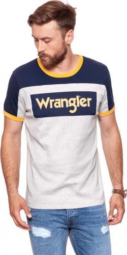 Wrangler Koszulka męska Blue & Yellow Rugby Logo Tee Mid Grey Mel r. S (W7B87GK37)