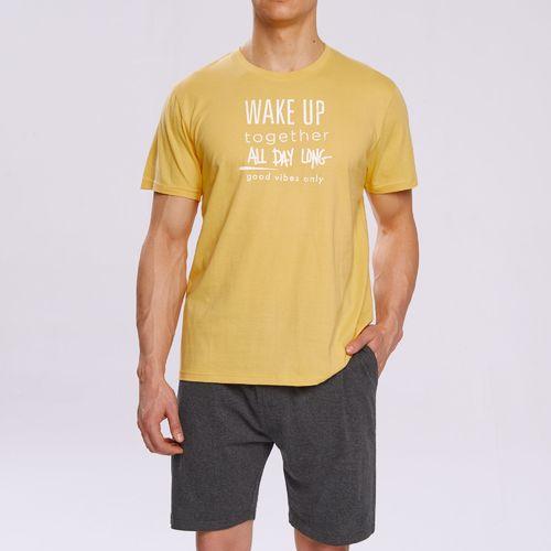 Atlantic Piżama Wake Up NMP-310 Żółto-szara - XXL