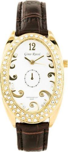 Zegarek Gino Rossi GINO ROSSI - 103A (zg575c) white/gold/brown uniwersalny