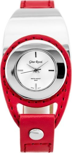 Zegarek Gino Rossi GINO ROSSI - VIVO (zg658e) silver/red uniwersalny