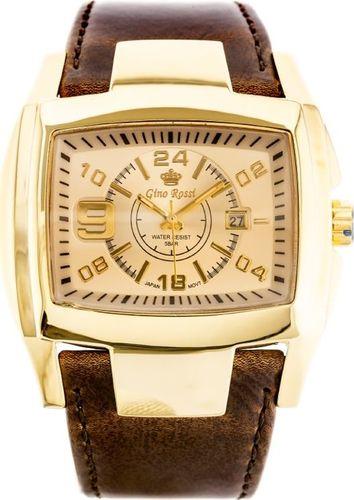 Zegarek Gino Rossi GINO ROSSI - ROCKY (zg057k) gold/brown uniwersalny