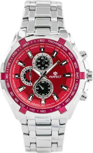 Zegarek Perfect PERFECT - MILTON - silver/red (zp112g) uniwersalny