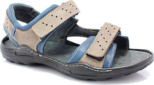 Kent KENT 295 SZARY-NIEBIESKI - Męskie sandały skórzane 45