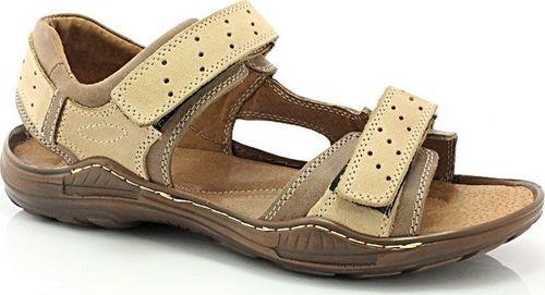 Kent KENT 295 BRĄZOWY - Męskie sandały skórzane 42
