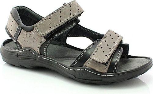 Kent KENT 295 SZARY-CZARNY - Męskie skórzane sandały 42