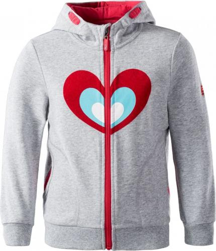 BEJO Bluza dziecięca Loras Kdg Light Grey Melange/Heart r. 110