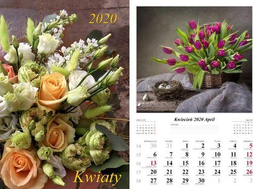Radwan Kalendarz 2020 Kwiaty 13 planszowy RADWAN