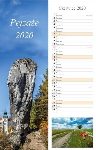 Radwan Kalendarz 2020 Pejzaże 13 planszowy 15x48 RADWAN