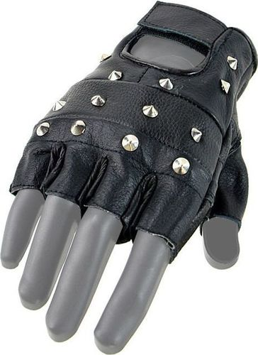 Mil-Tec Mil-Tec Rękawiczki Biker z Ćwiekami bez Palców Czarne XL