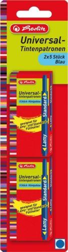 Herlitz Naboje atramentowe Universal niebieskie 10 sztuk