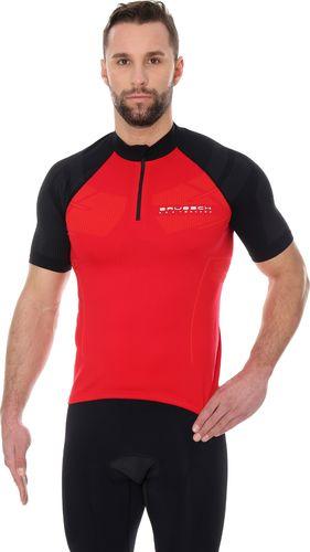 Brubeck SS12390 Koszulka rowerowa unisex krótki rękaw z suwakiem czerwony/czarny XS